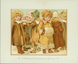 Christmas card, showing small girls dressed for winter, 1887