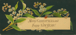 Christmas card, with flowers on black background, undated