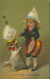 New Year's card, showing a boy with a drum and dog, undated