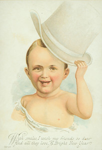 New Year's card, showing a baby in a top hat, undated