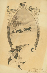 Christmas card, showing a sleigh in winter, undated