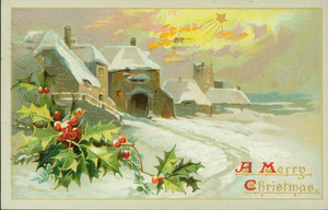 Christmas card, showing a winter scene, undated