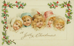 Christmas card, showing small children framed with holly, undated