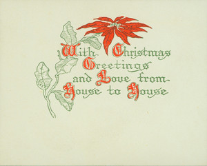 Christmas card, with a poinsettia flower, undated