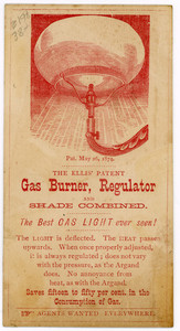 Trade card for Ellis' Patent Gas Burner, Regulator, and Shade Combined, Ellis, Dinsmore & York, proprietors and manufacturers, 349 Washington Street, Boston, Mass., undated