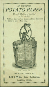 Trade card for potato parer, manufactured by Chas. E. Gee, Lowell, Mass., undated