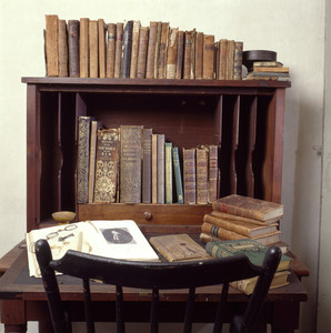 Writing desk and books, Coffin House, Newbury, Mass.