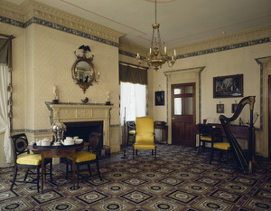 Drawing room with tea table and harp, Harrison Gray Otis House, First, Boston, Mass.