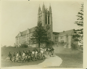 Boston College football team, jogging at the first practice, Brighton, Mass.
