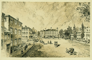 Drawing of Bowdoin Square, Boston, Mass.
