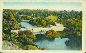 Panorama showing Duck Pond Bridge, Franklin Park, Boston, Mass.