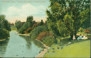 Boston, Mass., feeding the ducks at Franklin Park