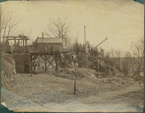 Quarry and derrick at Franklin Park, Roxbury, Mass., ca. 1887