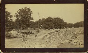 Construction of overlook wall at Franklin Park, Jamaica Plain [Roxbury], Mass.