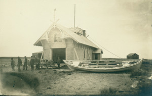 Crew in front of the Fletcher's Neck Life-Saving Station, Biddeford Pool, Maine, ca. 1887