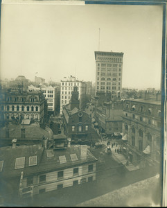 Bird's-eye view of the Old State House and Ames Building, State St., Boston, Mass., undated