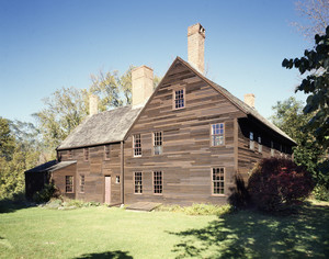 Exterior view from the left side in summer, Coffin House, Newbury, Mass.