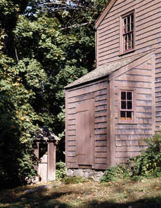 Exterior view showing the privy, Coffin House, Newbury, Mass.