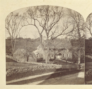 Exterior view from stereo view, Coffin House, Newbury, Mass.