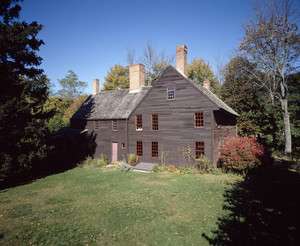 Exterior view from the left in fall, Coffin House, Newbury, Mass.