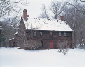 Exterior view of front facade in snow, Coffin House, Newbury, Mass.