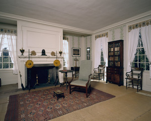 Back parlor showing fireplace, Hamilton House, South Berwick, Maine