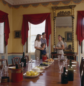 Dining room with docent, Harrison Gray Otis House, First, Boston, Mass.