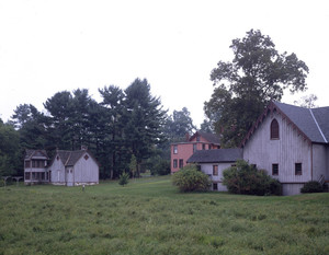 Outbuildings and house in summer, Roseland Cottage, Woodstock, Conn.