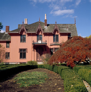View of south facade in autumn, Roseland Cottage, Woodstock, Conn.