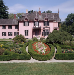 View of south facade and gardens in summer, Roseland Cottage, Woodstock, Conn.