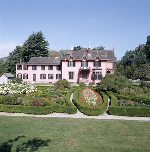 View of gardens in spring, Roseland Cottage, Woodstock, Conn.