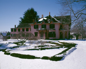 View of south facade in snow, Roseland Cottage, Woodstock, Conn.