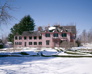 South facade in snow, Roseland Cottage, Woodstock, Conn.