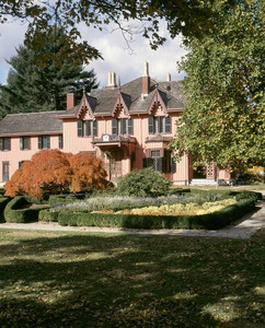 View of exterior in the fall, Roseland Cottage, Woodstock, Conn.