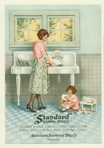 Advertisement for Standard Plumbing Fixtures, manufactured by the Standard Sanitary Manufacturing Company, Pittsburgh, Pennsylvania, ca. 1922
