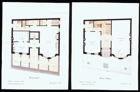 First floor plan of an unidentified town house, designed by Nathaniel J. Bradlee, location unknown, 1858