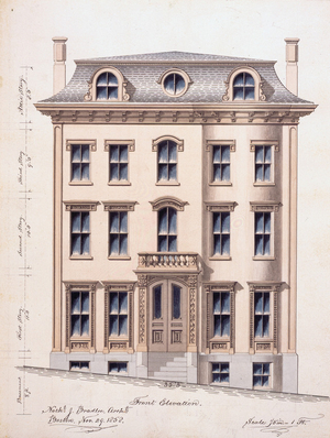 Front elevation of an unidentified town house, designed by Nathaniel J. Bradlee, location unknown, 1858