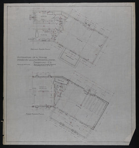 Set of elevations and floor plans of the Lillian Stokes Gillespie House, Stamford, Conn., undated