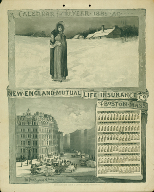 Calendar for New England Mutual Life Insurance Co., Post Office Square, Boston, Mass., 1885