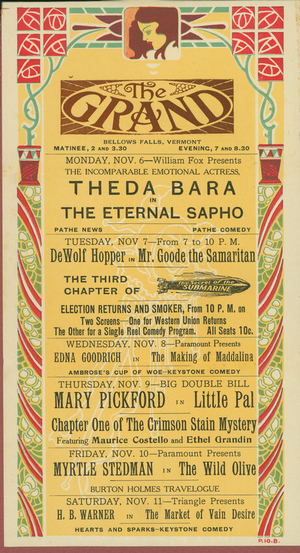 Advertisement for the Grand Theatre, Bellows Falls, Vermont, Nov. 3, 1915