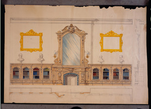 Interior elevation of a library, unidentified house, location unknown, ca. 1865