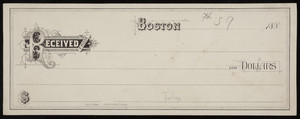 "Check sample, decorated letter ""R,"" Fred. W. Barry, stationer and bookseller, 58 & 60 Cornhill, Boston, Mass., 1880s"