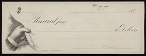 Check sample, male hand lifting the lower left corner of the check, Fred. W. Barry, stationer and bookseller, 58 & 60 Cornhill, Boston, Mass., 1880s
