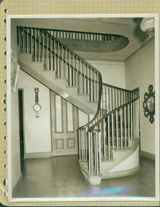 Tucker Family photograph album, staircase, page thirteen, Wiscasset, Maine, undated