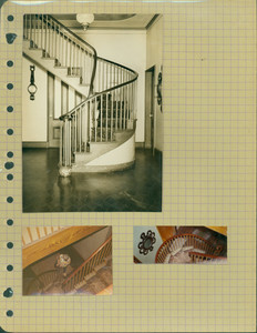 Tucker Family photograph album, staircase, page fifteen, Wiscasset, Maine, undated