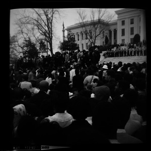 Crowd watching Martin Luther King speak from the Alabama state capitol steps