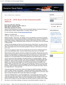 2010 State of the Commonwealth Address