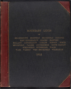 Atlas of the boundaries of the cities of Chicopee and Springfield and towns of Brimfield, East Longmeadow, Hampden, Holland, Longmeadow, Ludlow, Monson, Palmer, Wales, Wilbraham, Hampden County : Belchertown, Granby, South Hadley, Ware, Hampshire County : Brookfield, North Brookfield, Southbridge, Sturbridge, Warren, West Brookfield, Worcester County