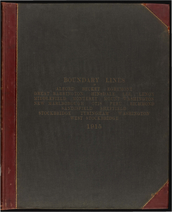 Atlas of the boundaries of the town of Alford, Becket, Egremeont, Great Barrington, Hinsdale, Lee, Lenox, Monterey, Mount Washington, New Marlborough, Otis, Peru, Richmond, Sandisfield, Sheffield, Stockbridge, Tyringham, Washington, West Stockbridge, Berkshire County, and Middlefield, Hampshire County
