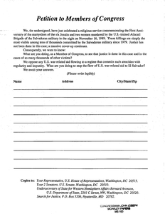 Blank copy of Petition to Members of Congress calling for justice in the Jesuit murder case